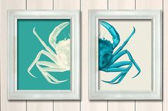 Set of 2 Crab Prints Turquoise And White ,Nautical Print Beach Decor bathroom Decor Nautical Decor Wall Art Beach House Decor Crab Picture