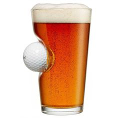 This beer glass with a real golf ball is sure to be a fairway hit with everyone. Gifts For Golfers, Golf Gifts, Pint Of Beer, Thing 1, Handmade Kitchens, Golf Ball, Transparent, Pint Glass, Mugs