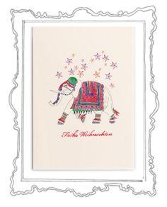 The Christmas Elephant Was gibt es Schöneres als in der glitzernden Weihnachtszeit liebe Menschen mit herzlichen Zeilen zu überraschen und etwas Weihnachtszauber zu verschicken. Das Weihnachtskarten schreiben ist eine zauberhafte Tradition, die zu Weihnachten – dem Fest der Liebe und Familie – einfach dazugehört.  Die elegante Klappkarte, in einem zarten Cremeweiß, hat das Format 118 x 168 mm (200g) und der Umschlag 125 x 176 mm (120g)