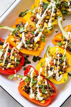 These tasty Mexican inspired Quinoa Stuffed Peppers are a hearty, plant-based meal for an incredible dinner any night of the week - it's great for meal prep too! Vegan, low fat, oil free and gluten free recipe! Vegan Meal Prep, Vegan Dinner Recipes, Vegan Dinners, Vegan Recipes Easy, Whole Food Recipes, Cooking Recipes, Vegan Quinoa Recipes, Drink Recipes, Vegetarian Recipes