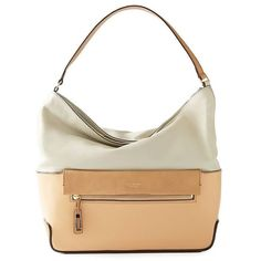 Isaac Mizrahi Paulette Hobo in Stone and Camel ($238) ❤ liked on Polyvore featuring bags, handbags, shoulder bags, white hobo handbags, zipper purse, croc handbags, crocodile handbag y white shoulder bag
