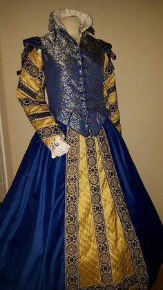 Renaissance Dress Elizabethan Tudor Italian by DesignsFromTime ~ LOVE the coluor combination! Elizabethan Costume, Renaissance Costume, Renaissance Dresses, Renaissance Fashion, Tudor Fashion, Historical Costume, Historical Clothing, Historical Dress, Viktorianischer Steampunk