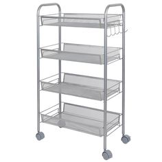 lifewit metal mesh storage units rolling cart with 4 baskets shelf trolley suitable for office kitchen home