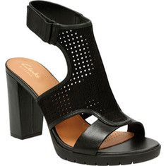 Women's Clarks Pastina Lima Ankle Strap Sandal - Black Nubuck/Full Grain Leather with FREE Shipping