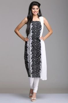 Black & White Unstitched Cotton Suit With Chikankari Embroidery & Applique