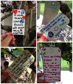 International Day of Peace Idea- hang tags with messages of peace in trees around your school Peace Education, Art Education, Character Education, Stem Projects, School Projects, Beginning Of School, First Day Of School, International Day Of Peace, International Festival