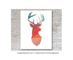 Tête de cerf géométriques Print Art imprimable par MaidservantOf, $9.00