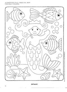 Worksheet Fine Motor Skills: Tracing Underwater World . Just trace the dotted lines and color in. Tracing Worksheets, Preschool Worksheets, Preschool Writing, Preschool Activities, Pre Writing, Ocean Themes, Motor Activities, Colouring Pages, Fine Motor Skills