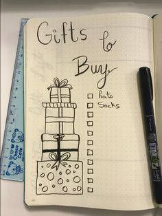 Christmas Gift Bullet Journal. Bullet Journal Gift Spread, How to make a christmas and other holiday list in your bullet journal