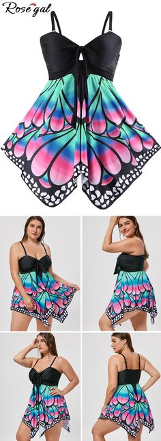 Free shipping worldwide.Plus Size Skirted Butterfly Print Blouson Tankini. #tankini #plus size tankini #butterfly #summer #hawaii #swimwears