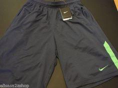 Men's active Nike dri fit stay cool training shorts mesh Medium blue 464 neon