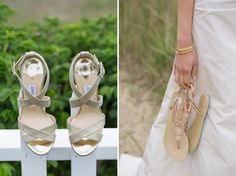 Switching heels for sandals, as seen in: Demure and Dapper on Nantucket | Southern New England Weddings Photo by: Katie Kaizer Photography #wedding #shoes #bride #bridal #island #nantucket