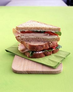 Ricotta cheese, roasted red peppers, and arugula add an Italian twist to a deli-turkey sandwich.Recipe: Turkey Sandwich with Ricotta, Red Peppers, and Arugula Sandwiches For Lunch, Turkey Sandwiches, Wrap Sandwiches, Easy Sandwich Recipes, Lunch Recipes, Healthy Dinner Recipes, Panini Recipes, Sandwich Ideas, Picnic Recipes