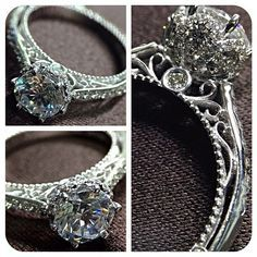 """New Venetian-5052DR has an elegant look combined with the Verragio signature detail-work for a very unique engagement ring. Who could possibly say """"no"""" to this ring?!"""