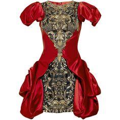 Alexander McQueen Embellished silk-satin dress ($11,590) ❤ liked on Polyvore featuring dresses, alexander mcqueen, vestidos, red, women, short beaded cocktail dresses, embroidered dress, short dresses, short sequin dress and beaded cocktail dress