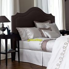 Yves Delorme Italics Cafe Creme White Queen Duvet Taupe / Brown Cotton $745 New