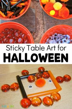 A fun Halloween invitation to play using contact paper! Let the creativity flow as your kids explore the art project. It's a great sensory experience and wonderful at building fine motor skills, too! Halloween Science, Halloween Activities For Kids, Halloween Art, Enchanted Learning, Paper Child, Halloween Contacts, Sticky Paper, Sensory Experience, Halloween Invitations