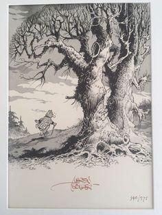 Bommel en Tom Poes - Prent gesigneerd door Marten Toonder - Heer Bommel maakt een wandeling - (2002) - W.B. Animation Background, Fashion Mode, Comic Artist, Comic Strips, Cartoon Characters, Pencil Drawings, Illustrators, Coloring Pages, Fantasy Art