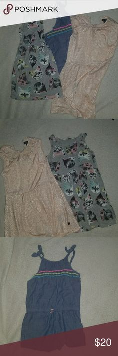 Girl bundle Kitty print dress(2-4)H&M Blue romper(3t)Cherokee Rose gold dress(3t)Tommy Hilfger super flowy light weight material Tommy Hilfiger Dresses Casual