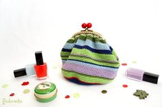 Cosmetic pouch Spring Stripes crochet colorful by Podarenka, $48.50