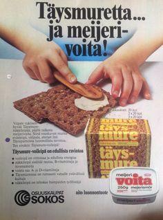 Täysmure näkkileipä mainos osuuskauppa Sokos Good Old Times, Old Ads, Banana Bread, 1970s, Nostalgia, Desserts, Food, Tailgate Desserts, Deserts