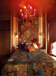 Bohemian / Moroccan bedroom.  Cool ceiling & lighting.