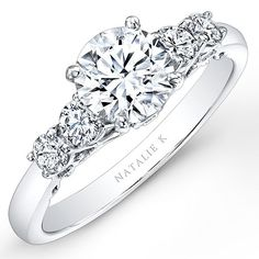 Style NK26632, 18k white gold and diamond engagement ring with round-cut diamond center stone, Natalie K