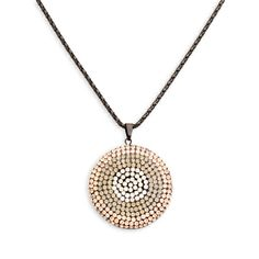 """Love this! Found it on The Sparkling Vine: With a hint of class, this circle pendant necklace will gracefully fall upon your neckline. The finesse that the ombre crystals add are unique to this piece!  - Black clay, crystals, Italian mesh chain  - 18"""" long, 3"""" extender - Lobster clasp closure Item # DEL30001008"""