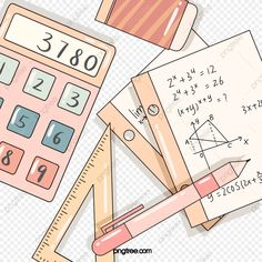 Pink Cute Math Stationery Elements, Math Clipart, Mathematics, Calculator PNG Transparent Clipart Image and PSD File for Free Download