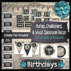 This kit was created to accompany any burlap, wood, or chalkboard theme.  Binder Covers and Spines-CustomizableDesk Name Plates-CustomizableBirthday Display-CustomizableBirthday BalloonsCalendar NumbersAlphabet Bunting-CustomizableWord Wall Customizable Cards and Headings-Customizable Classroom Helpers Display-CustomizableBehavior Management-Customizable Days of the WeekMonths on the YearLabels-CustomizableSchedule Cards with and without clocksTable NumbersNumber Line (-20 to… Classroom Decor Themes, Classroom Design, Preschool Classroom, Classroom Ideas, Calm Classroom, Classroom Helpers, Chalkboard Classroom, Classroom Calendar, Classroom Birthday