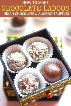 These Chocolate Ladoos take only 25 minutes to make, and have just 4 main ingredients! | Indian Dessert Recipe | Almond Chocolate Truffles | Kid friendly healthy dessert | #glutenfreerecipe #quickdessert | pipingpotcurry.com Healthy Chocolate, How To Make Chocolate, Almond Chocolate, Chocolate Truffles, Indian Dessert Recipes, Indian Sweets, Indian Recipes, Diwali, Fudge