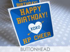 Cute set of cheer squad birthday stickers, custom made with XOXO! Custom Sticker Labels, Squad, Cheer, Happy Birthday, Happy Brithday, Humor, Urari La Multi Ani, Classroom, Cheerleading