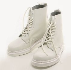 All White Doc Marten's Dr. Martens, Dr Martens Stiefel, Dr Martens Boots, Wedge Boots, Ankle Boots, White Dr Martens, Fancy Shoes, Sock Shoes, Western Boots