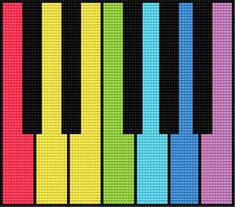Colourful keyboard (music, play, instrument, cottage piano, piano)