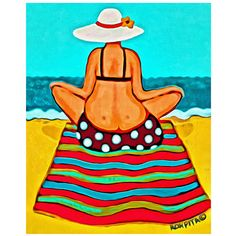 Whimsical Woman Beach Folk Art - Colorful Seashore 8x10 Glicee Print from Original Coastal Painting - Magic Carpet Ride - Korpita ebsq #beachart #magiccarpetride