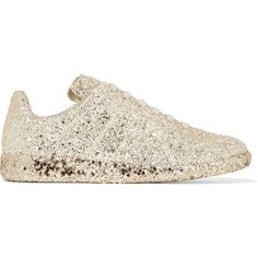 Maison Margiela Glittered leather sneakers ($725) ❤ liked on Polyvore featuring shoes, sneakers, gold, maison margiela shoes, low top, genuine leather shoes, laced sneakers and lace up shoes