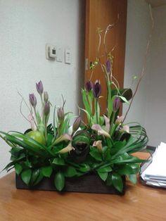 Tulipanes morados y cala mini color rosado en variedad de follajes
