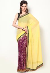 An epitome of elegance and class, this yellow coloured saree by Akrti is an excellent pick for your ethnic closet. Featuring an eye-catching design, this embroidered saree will lend you a sophisticated look in no time. Style it with fashion jewellery and high heels to complete your look for any festive occasion.