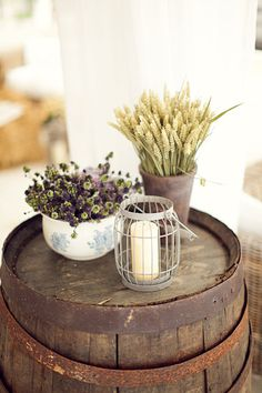 wheat...tiny purple and green...old bowls and planters! YES.