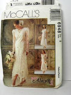 1994 McCall's Pattern 6948, Alicyn Exclusives, Wedding Dress, Formal Dress, Lace Dress, Women's Size 8, Vintage Dress Pattern, Uncut Pattern