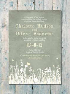 Autumn Field Wedding Invitation and Reply Card Set - Wedding Stationery. $1.35, via Etsy. Love this:)