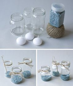Floating candles in a jar Floating Candles, Diy Candles, Ideas Bautismo, Baby Shawer, Baptism Party, Candle Making, Baby Boy Shower, Christening, Diy And Crafts