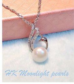 S925 Chain Genuine Freshwater White Pearl(11mm) Phoenix Pendant necklace | eBay