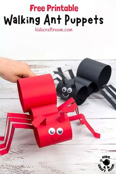 This Walking Ant Craft is so fun and easy to make with a free printable ant craft template. Make your paper ant puppets move with a twist of your wrist! Craft Activities, Preschool Crafts, Toddler Activities, Paper Roll Crafts, Craft Stick Crafts, Paper Craft, Mason Jar Crafts, Mason Jar Diy, Ant Crafts
