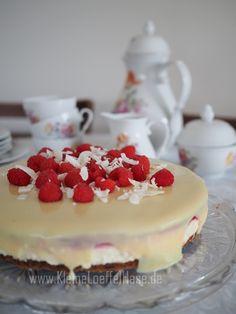 kokos-himbeertorte-weiße-schokolade-glutenfrei Cheesecake, Baking, Desserts, Food, White Chocolate, Pies, Kuchen, Raspberries, Glutenfree