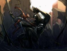 spiderman vs venom by aribuwana on DeviantArt Marvel Heroes, Marvel Dc, Marvel Comics, Mundo Marvel, Man Vs, Spider Verse, Amazing Spiderman, Mans World, Amazing Adventures