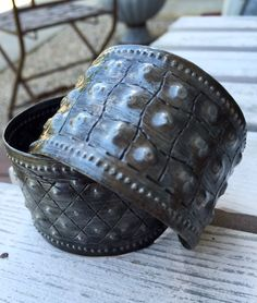 Recycled Tin Oil Drum Gladiator Cuff by Papillon Enterprise from Haiti