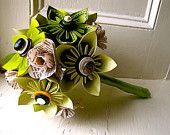 Green Kusudama and Rose Folded Paper Flower Bouquet for Wedding