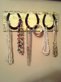 horseshoe jewelry holder | horseshoe necklace holder...horseshoe accessory rack...horseshoe ...