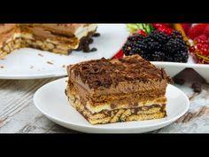 Prăjitură rapidă fără coacere din biscuiți – un desert excelent de zile mari! - savuros.info No Cook Desserts, Nutella, Tiramisu, Biscuit, Sweets, Cooking, Ethnic Recipes, Foods, Youtube